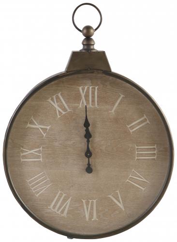 Block & Chisel round clock with roman numerals