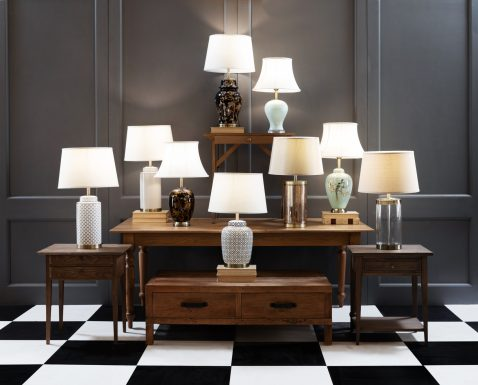 geometric pattern, oval lampbase with brass trim and white lampshade