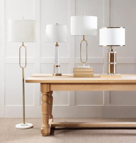 minimalist metal lampbase with white lampshade