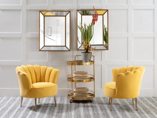 Block & Chisel rectangular mirror with antique gold frame