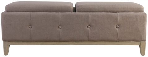 Block & Chisel beige upholstered bed end with oak wood legs