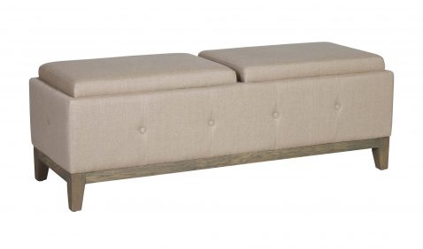 Cleopatra Bed end in cream linen with tufted detail and wooden legs with convertible trays