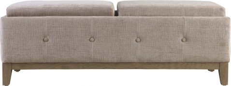 Block & Chisel warm beige upholstered bed end with oak wood legs