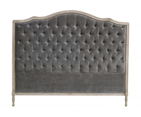 Margaret Headboard King size in silver grey with tufted detail with wooden frame
