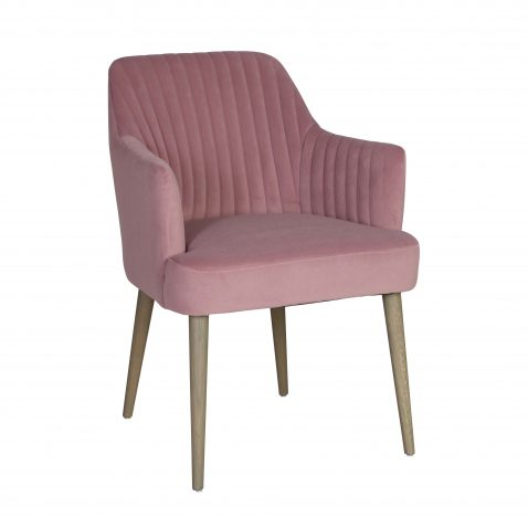 Donatella Carver Dining Armchair Desk Chair in pink mink upholstery