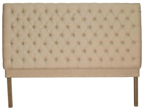 Block & Chisel button tufted cream linen upholstered king size headboard