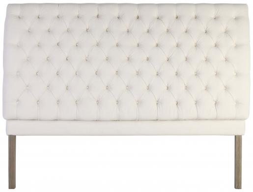 Block & Chisel button tufted ivory velvet upholstered king size headboard
