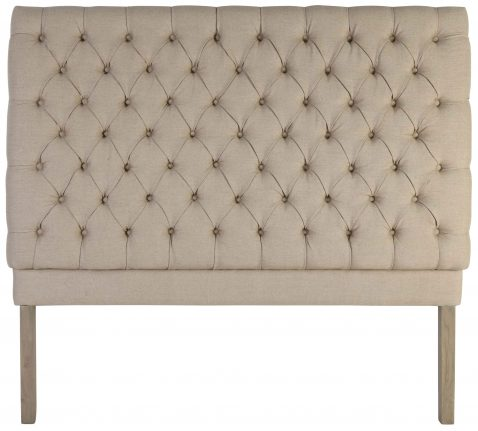 Block & Chisel button tufted beige linen upholstered queen size headboard