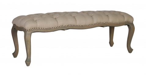 Bonny - linen cream bed end with tufted detail and wooden cabriole legs