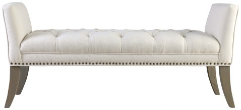 Block & Chisel ivory velvet upholstered button tufted bed end with wing sides