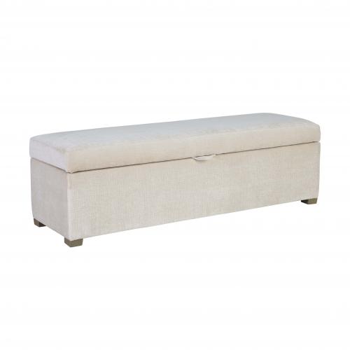 Walmer bedend in white velvet with storage