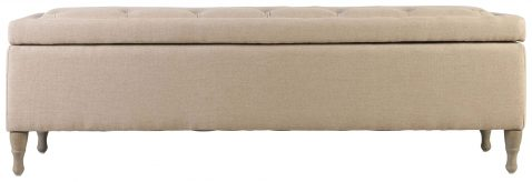 Block & Chisel linen upholstered button tufted bed end with lid