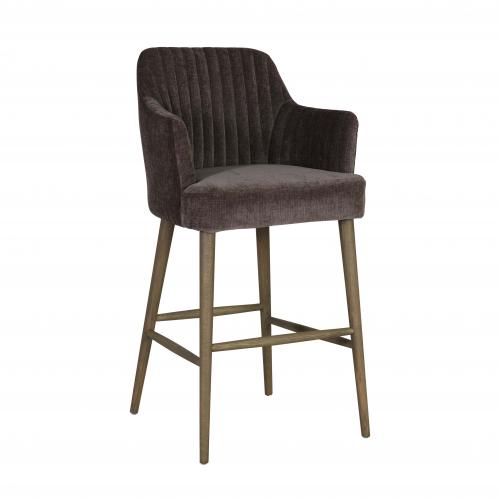 Block & Chisel brown upholstered barstool with oak wood legs