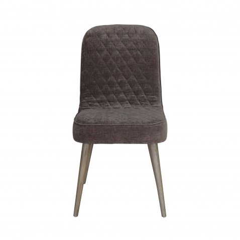 Block & Chisel brown upholstered dining chair with beech wood legs
