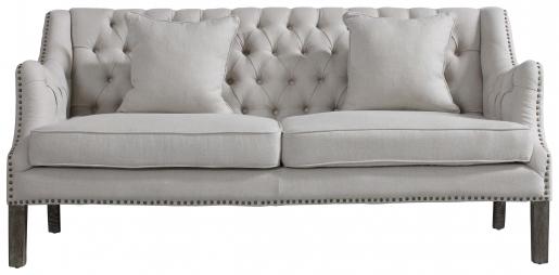 Block & Chisel linen upholstered button tufted sofa on oak wood legs