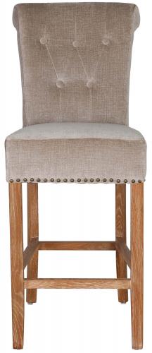 Block & Chisel beige upholstered barstool with oak wood legs