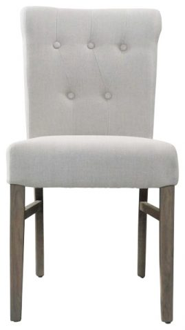 Block & Chisel linen upholstered button tufted dining chair