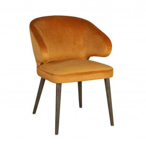 Mila Dining Chair - Velvet yellow gold upholstery with wooden legs