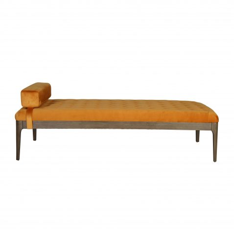 Millie Daybed with headrest and tufted details in yelllow