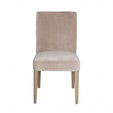Harley Dining Chair - Cotton light brown seating with wooden legs