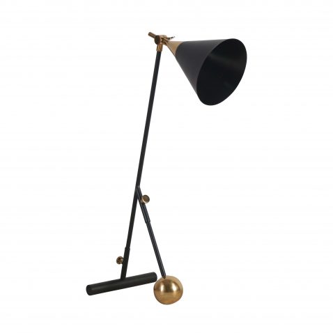 black and brass industrial desk lamp