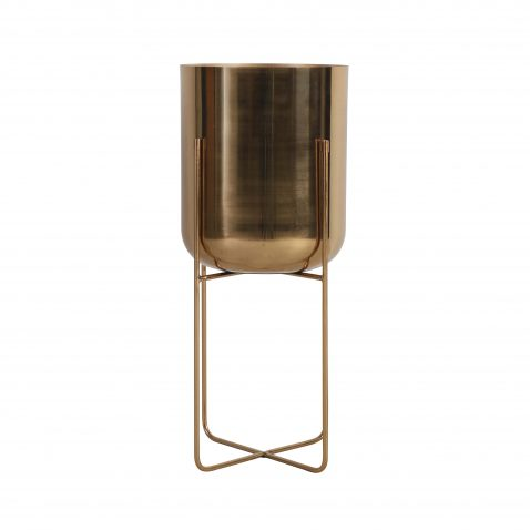 Gold planter on stand