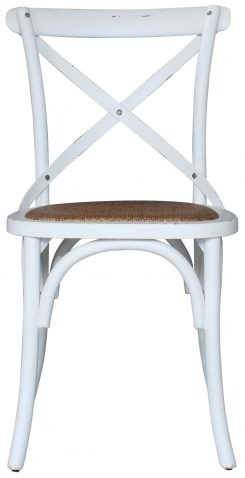 Block & Chisel white distressed birch wood crossback dining chair