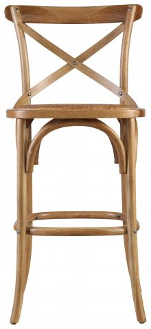 Block & Chisel oak wood counter stool with rattan seat