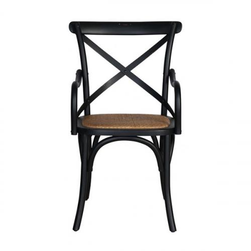 Block & Chisel black distressed birch wood crossback armchair