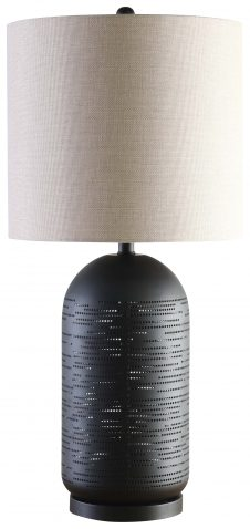 Block & Chisel metal table lamp with cream shade