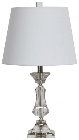Block & Chisel crystal and metal table lamp with white shade