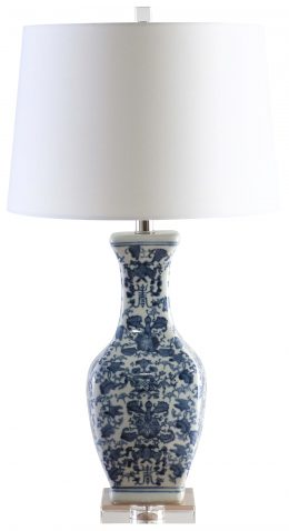 Block & Chisel ceramic and metal table lamp with white shade and crystal base