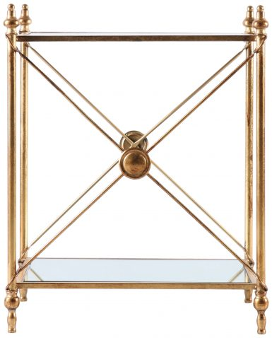 Block & Chisel rectangular metal side table with mirror shelves