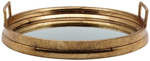 Block & Chisel round iron tray with antique gold finish