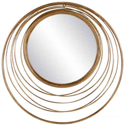 Block & Chisel round iron mirror with antique gold finish