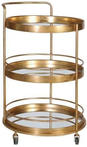 Block & Chisel round 3-tier drinks trolley with iron frame and mirrored shelves