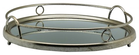 Block & Chisel round mirrored tray with iron frame