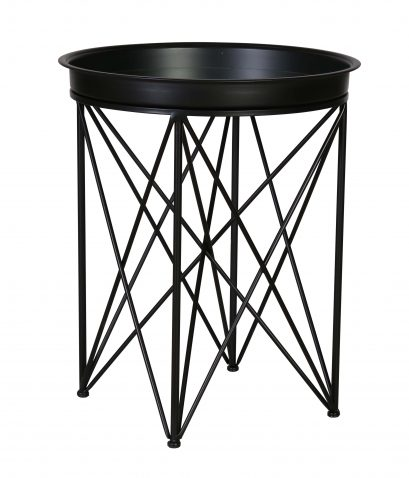 Matt black tray round side table with metal legs