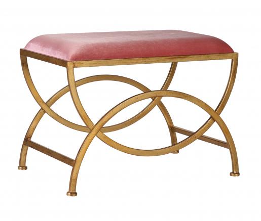 Ursula Stool - Pink velvet stool with metal geometric gold legs