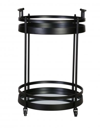 Shirley Trolley - matt black drinks trolley on castor wheels with two shelves