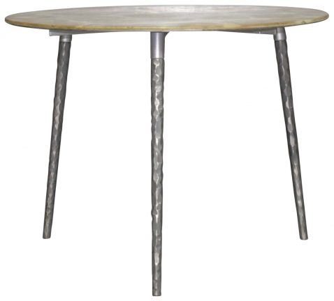 Block & Chisel round teak top coffee table with metal pointed legs