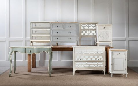 White aged bedside table with 2 mirror panelled drawers