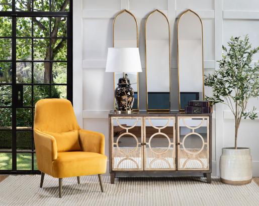 Darlene Mirror - Gold metal framed rectangular mirror with tulip top