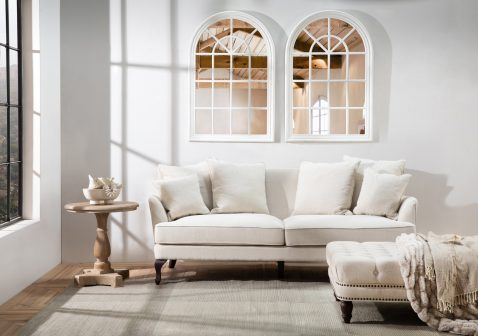 Monroe 3 Seater Sofa in beige fabric and rubber wooden legs