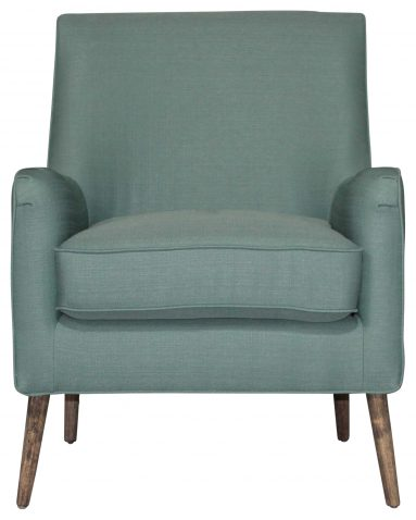 Block & Chisel blue upholstered occasional chair with pointed wooden legs