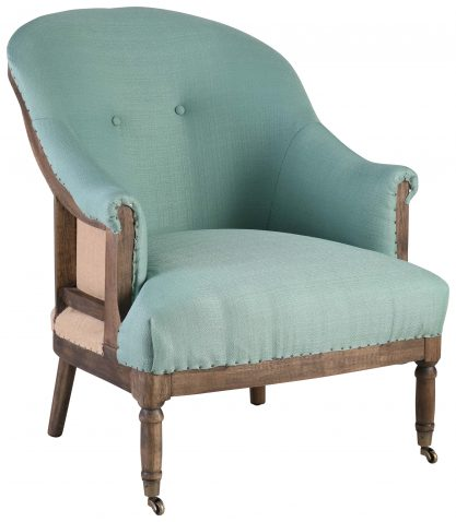 Block & Chisel duck egg blue upholstered round back occasional chair on castors
