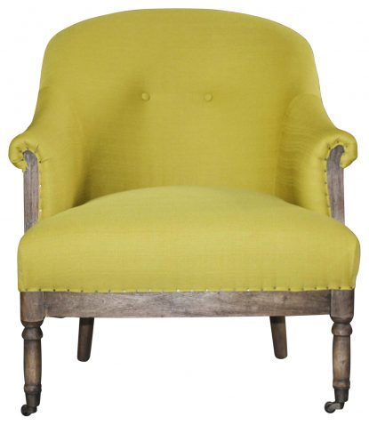 Block & Chisel green upholstered round back occasional chair on castors
