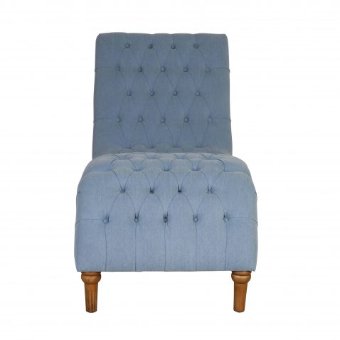 Deep buttoned chaise with wooden legs.
