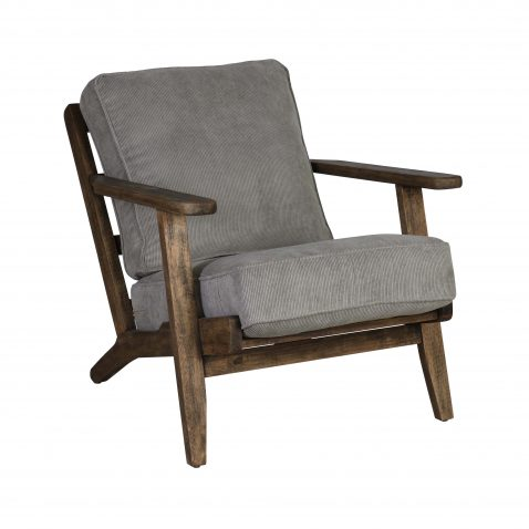 Wooden frame lounge chair with loose cushions upholstered in a grey fabric.