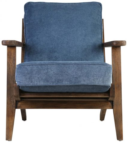 Block & Chisel blue upholstered occasional chair with rubber wood legs